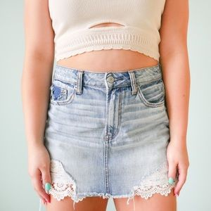 AEO Light Wash Festival Denim Skirt